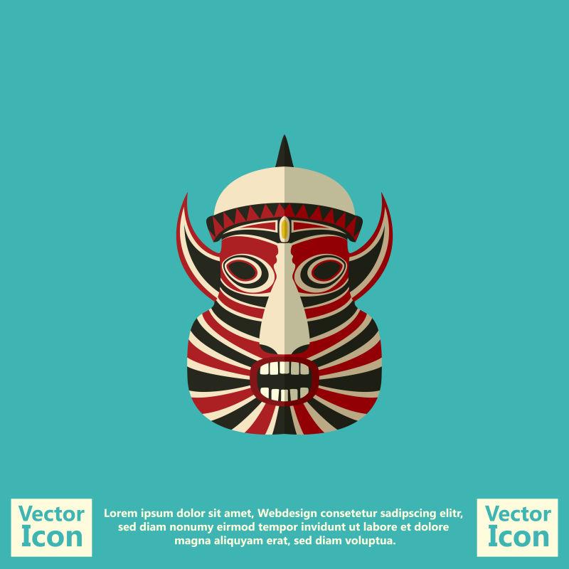 创意矢量卡通部落风格的面具设计
