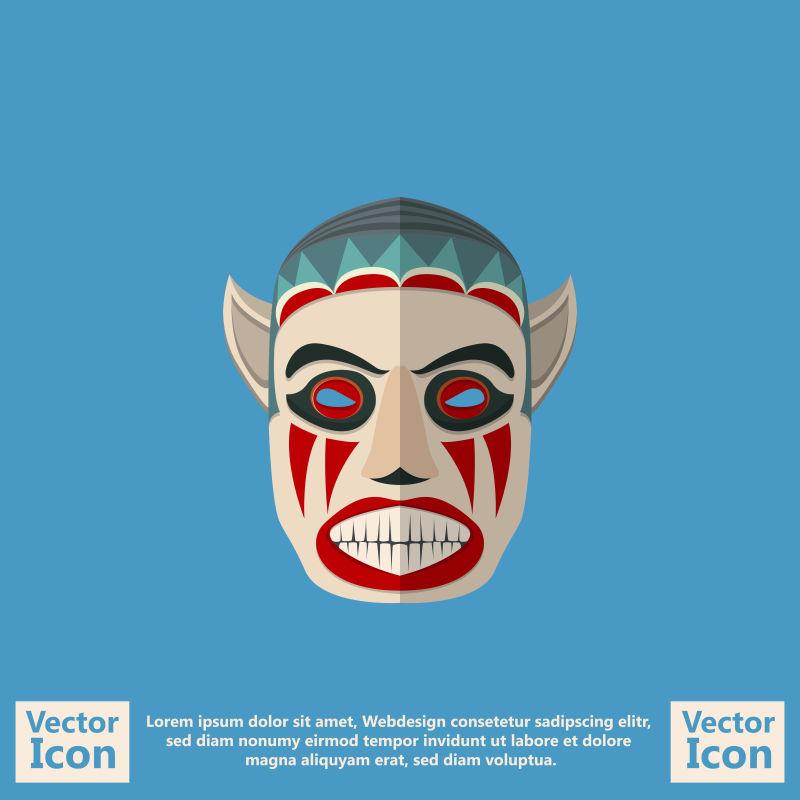 矢量创意现代部落面具设计插图