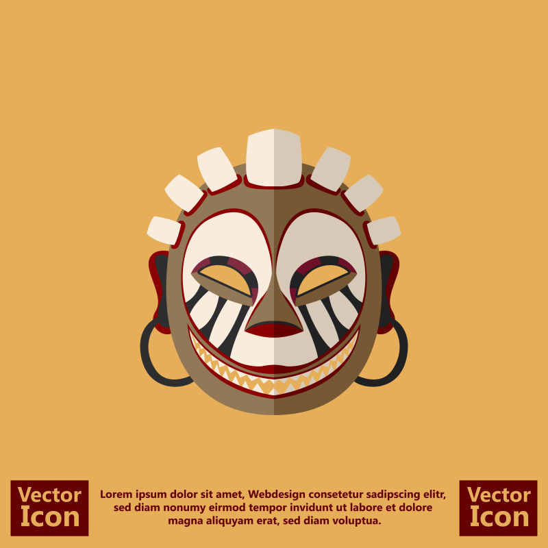 矢量卡通部落面具设计