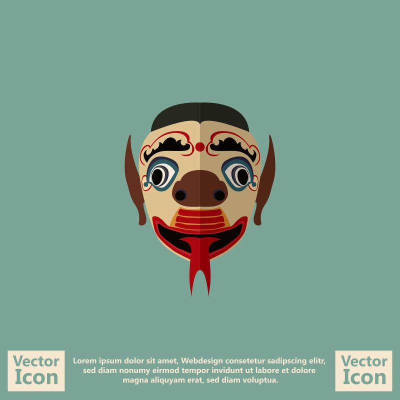 抽象矢量恶魔元素的部落面具设计