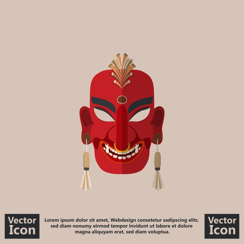 矢量恶魔元素的红色部落面具设计