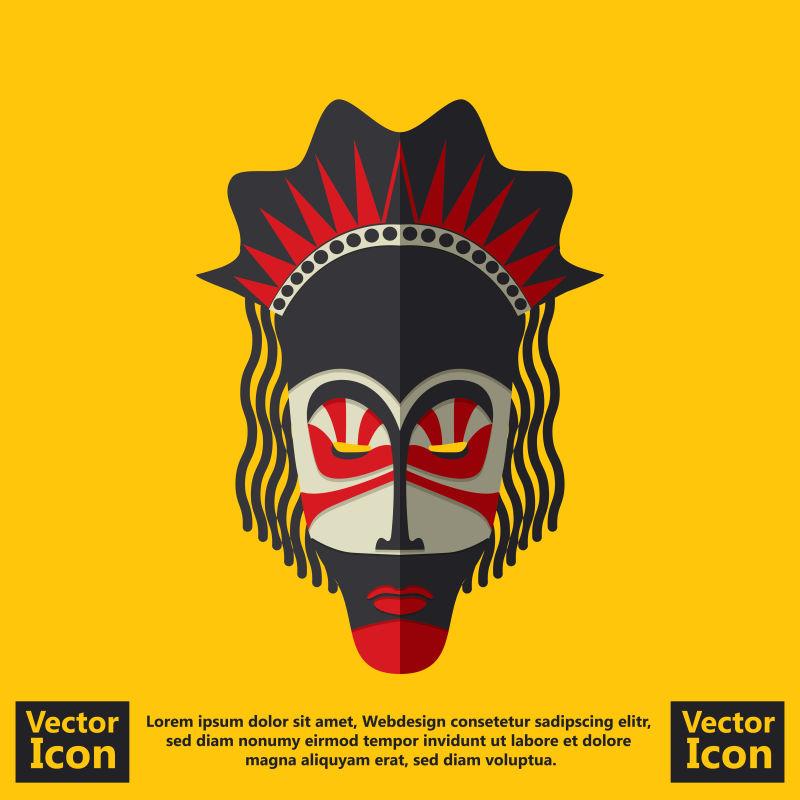抽象矢量卡通彩色民族面具设计