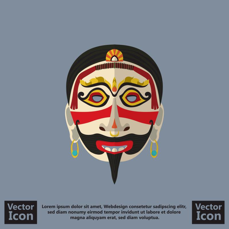 抽象矢量现代部落面具设计插图