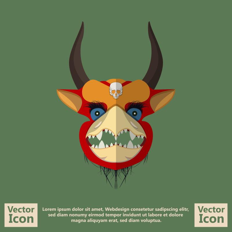抽象矢量现代羚羊元素的面具设计