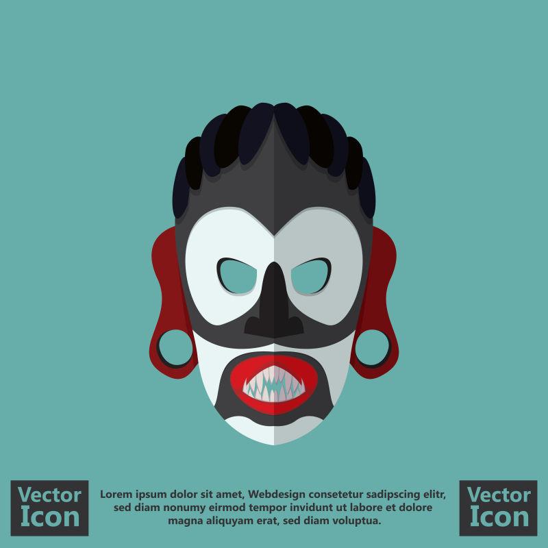 抽象矢量卡通风格的部落面具设计
