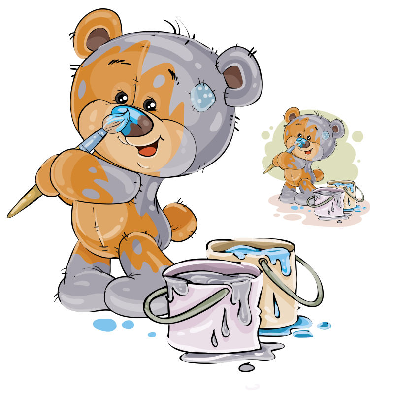 一头棕色泰迪熊的矢量图案用灰色描绘自己,鼻子用蓝色描绘。