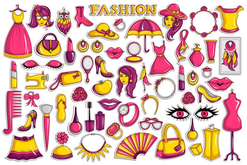 抽象矢量时尚主题的贴纸设计