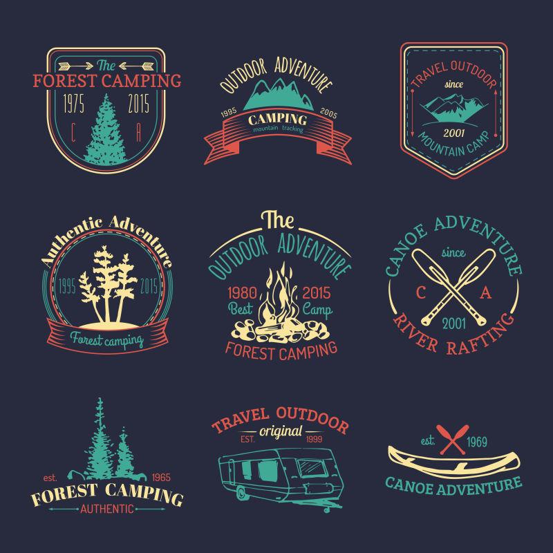 矢量集老式露营标志复古标志收集户外冒险为徽章徽章绘制旅游素描