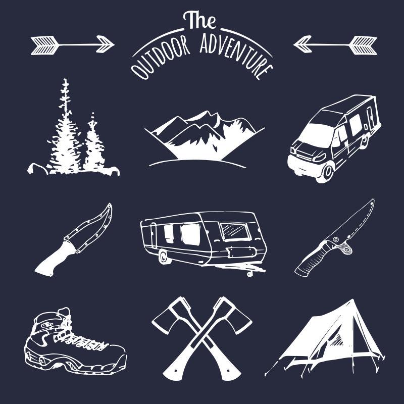 标志旅游徽章徽章用复古露营元素矢量集复古标志收集户外冒险