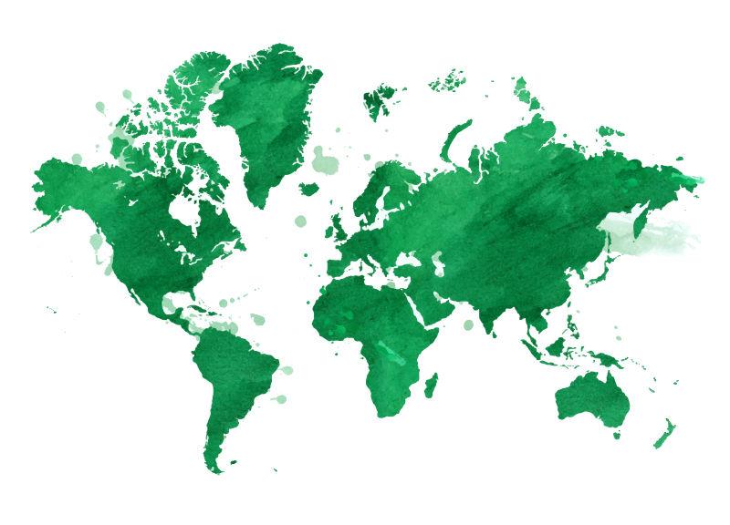 抽象矢量现代绿色世界地图插图设计