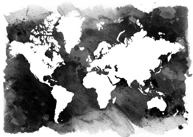 抽象矢量现代世界地图创意插图
