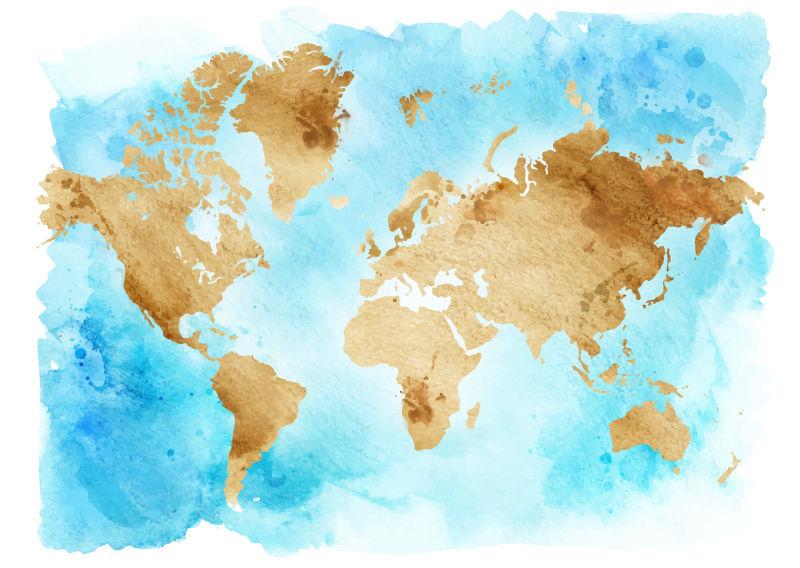 抽象矢量水彩风格的世界插图设计