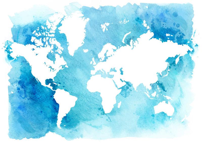 抽象矢量现代蓝色世界地图水彩插图
