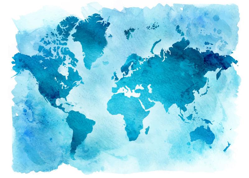 抽象矢量现代蓝色世界地图水彩插图设计