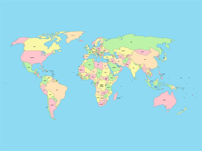 抽象矢量现代彩色世界地图设计