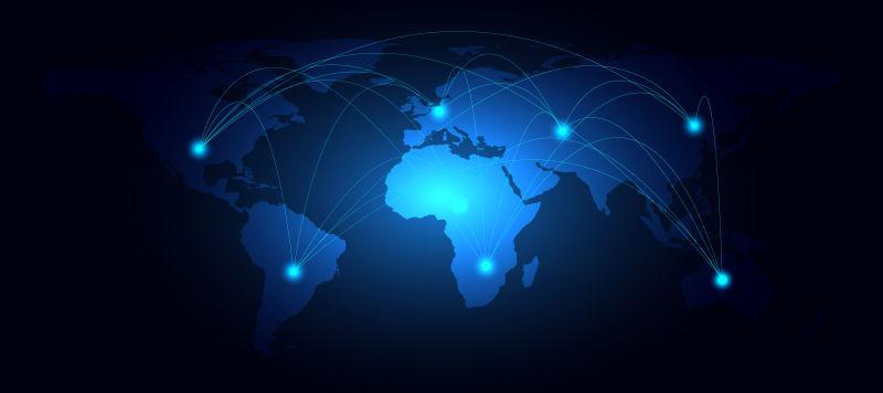 抽象矢量现代蓝色地图设计插图