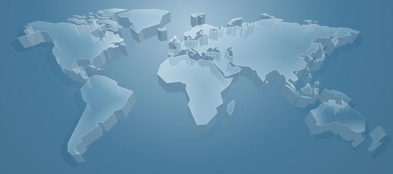 抽象矢量现代立体世界地图设计