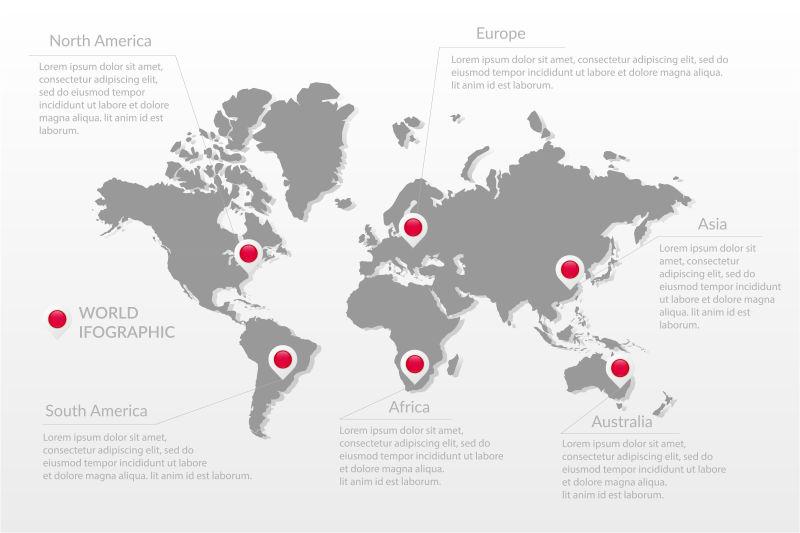 抽象矢量现代世界地图设计插图