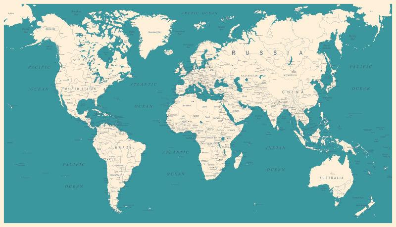 创意矢量蓝色世界地图设计