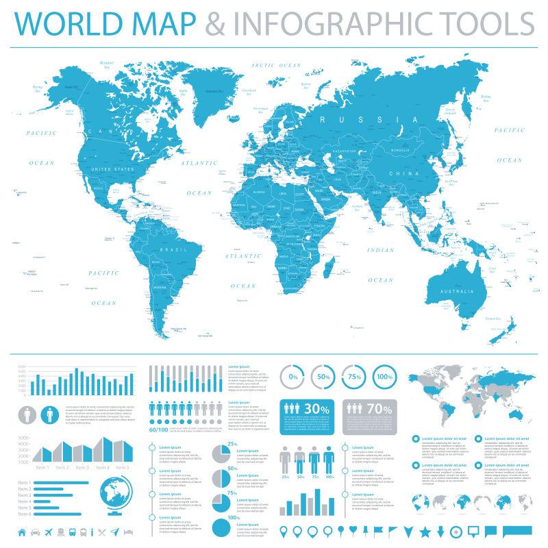 抽象矢量蓝色世界地图设计