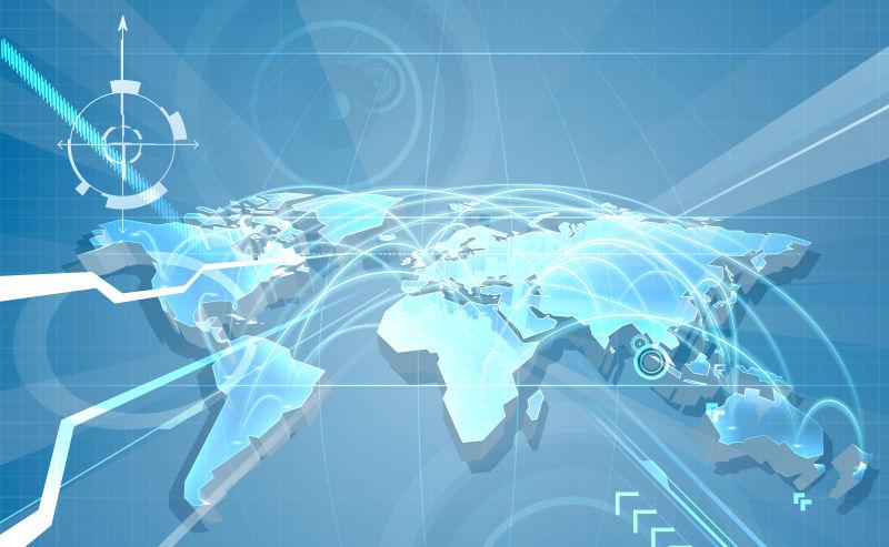 抽象矢量现代立体全球通信地图设计