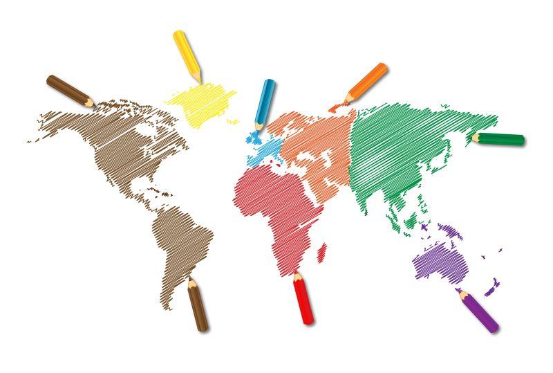 抽象矢量彩色斜线风格的世界地图插图设计