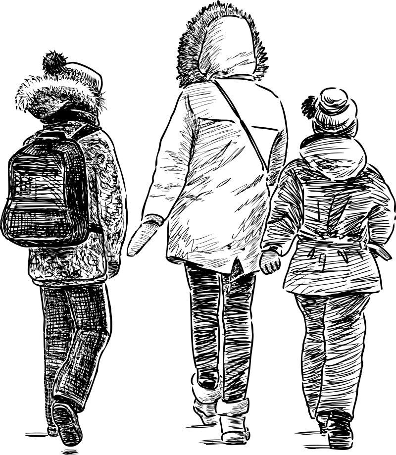 抽象矢量散步回家的家人背影素描插图