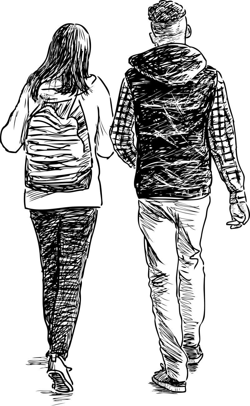 抽象矢量散步的学生素描插图设计
