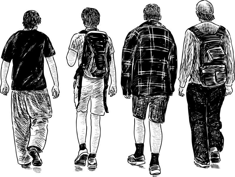 抽象矢量现代素描散步的年轻人插图设计