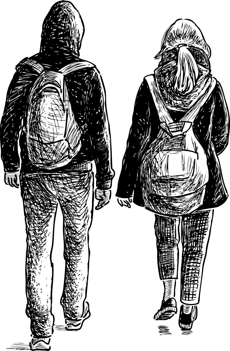 矢量抽象散步的学生素描插图设计