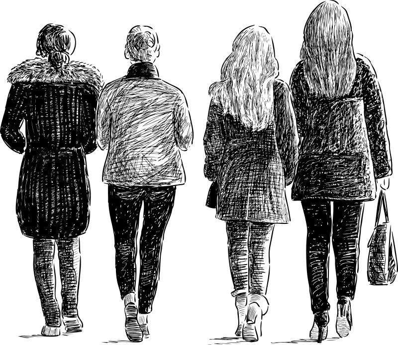抽象矢量行走的女孩素描插图设计