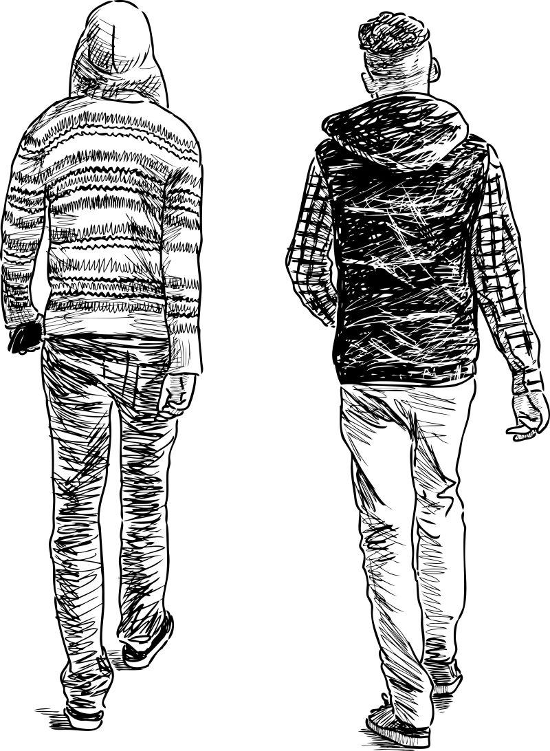 抽象矢量一起闲逛的年轻人素描插图设计