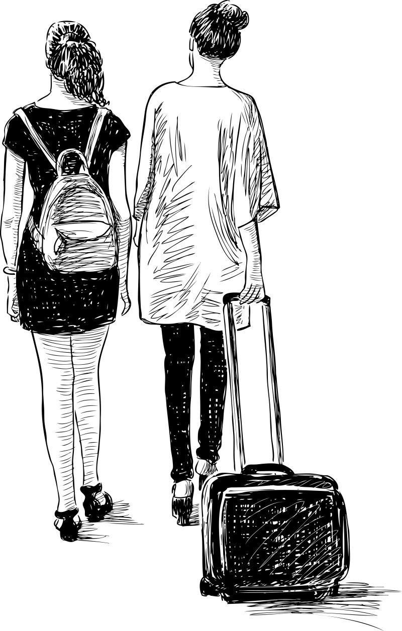 抽象矢量度假的情侣素描插图设计