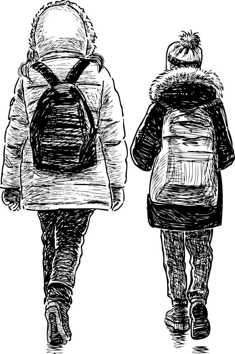 抽象矢量现代散步的学生背影素描插图设计