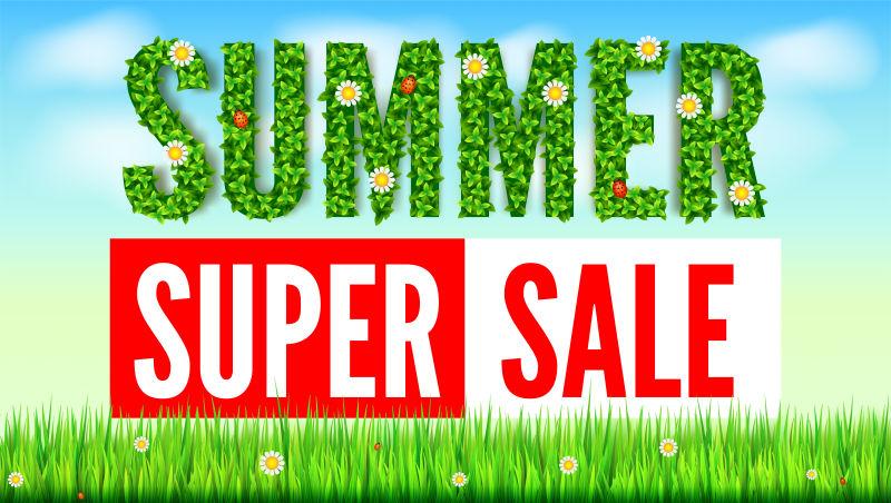 瓢虫春夏花朵的夏绿叶夏季热打折销售广告横幅草地草地天空和云朵的绿色背景文本生态卡