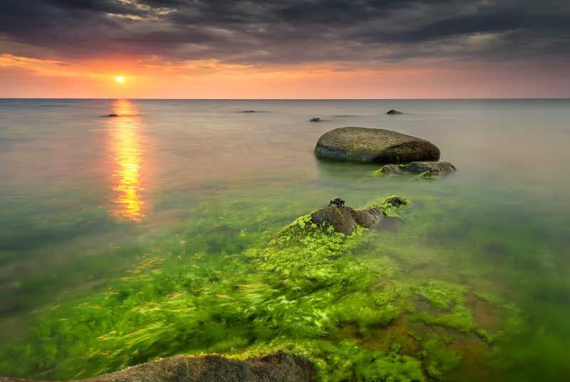 日出的保加利亚海边景观