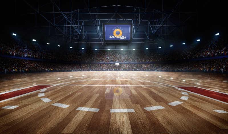 专业篮球场灯光与球迷三维渲染