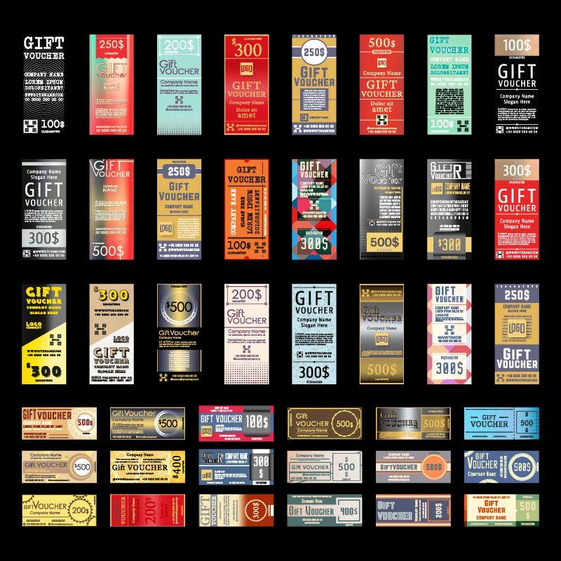 具有各种设计模式的礼品券模板-矢量图