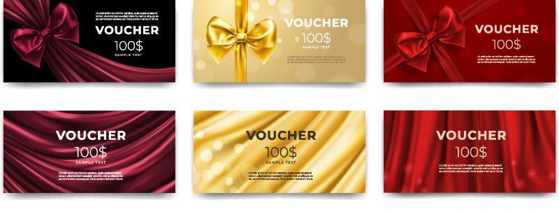 金色礼券或红色礼品卡-金色礼券优惠-一套单独的模板-用于带丝带和蝴蝶结的赠券-商店邀请促销或传单优惠-生日礼物-优质标签