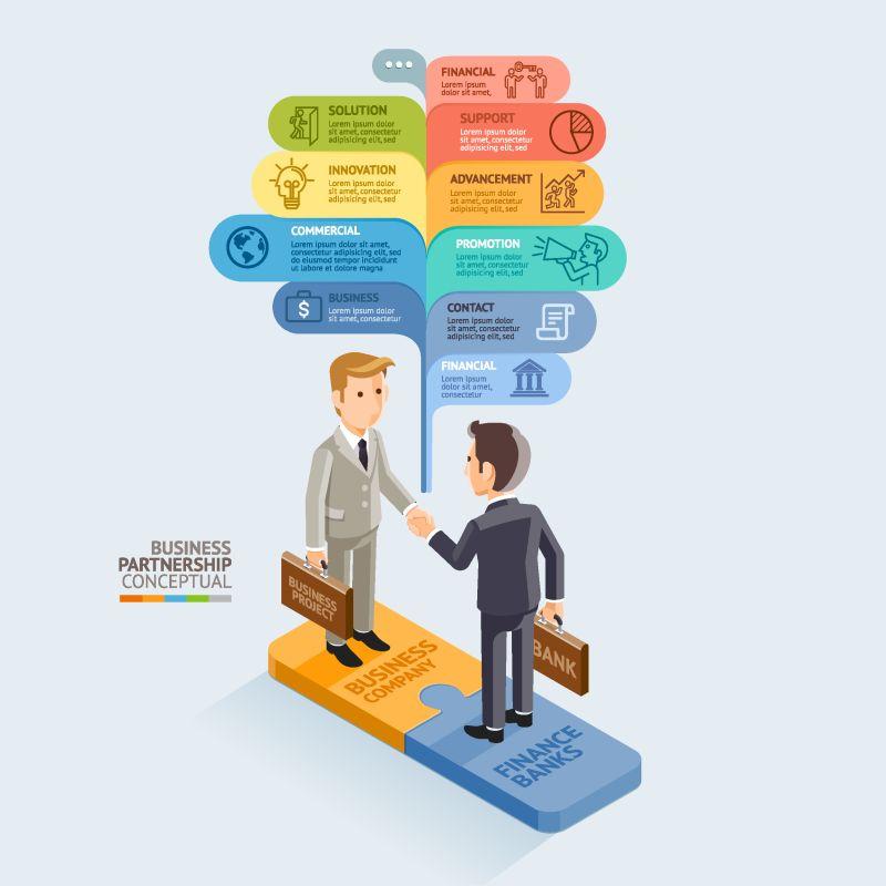 商业伙伴关系等距概念-商人在拼图游戏上握手-矢量图-可用于工作流布局、图表、Web设计、信息图形和时间线