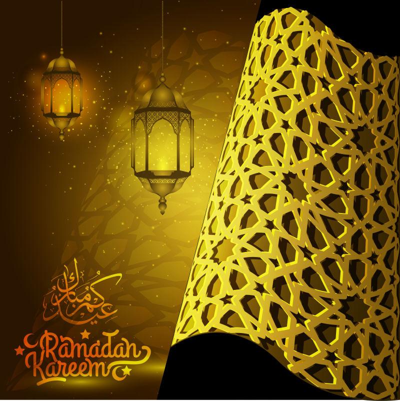 斋月卡雷姆伊斯兰问候背景-漂亮的伊斯兰图案灯笼和阿拉伯书法