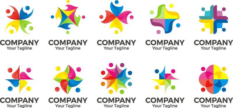 Vector People社区标志-团结、合作、团结、团队合作、儿童游戏、儿童娱乐
