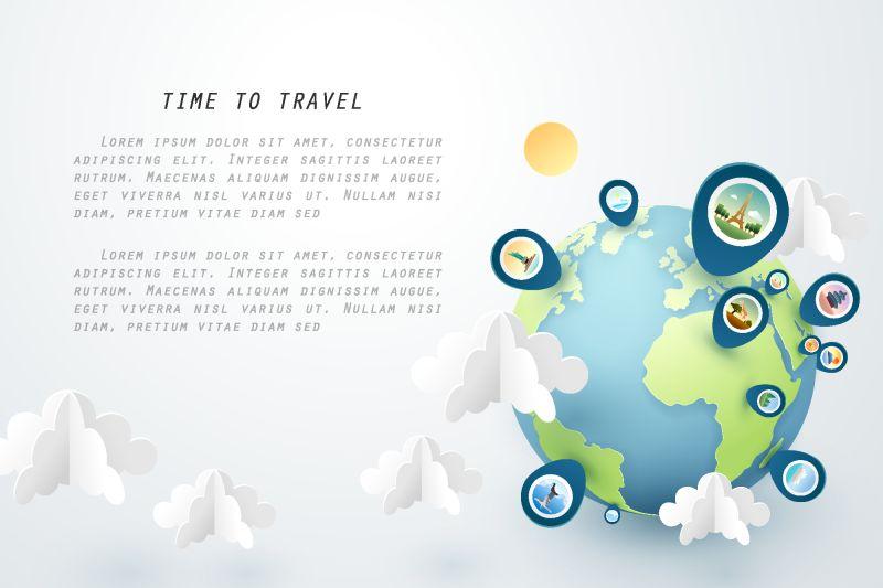 时间旅行-纸艺术的世界和钉住地标-矢量艺术和插图