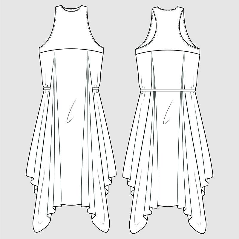 赛车手后背垂褶礼服-时装插画-CAD-技术图纸-规格图-钢笔工具-可编辑