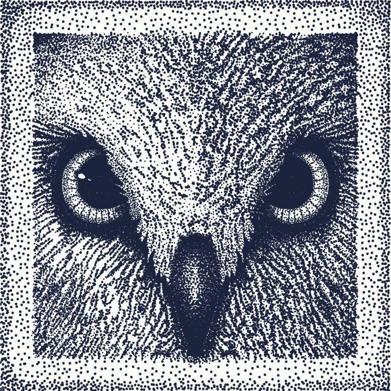 猫头鹰纹身艺术-猫头鹰的眼睛-点画-矢量图-T恤设计-封面