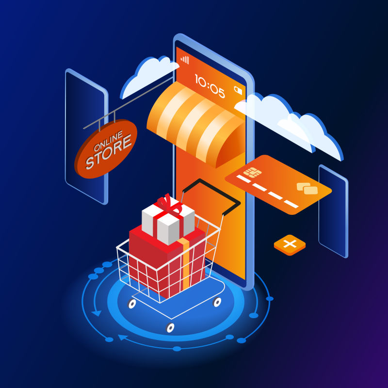 销售和消费者概念-一个人用智能手机买了一家网上商店-登录页模板-三维矢量等角图