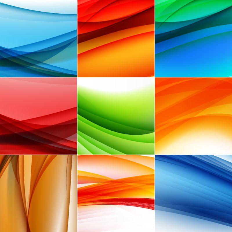 抽象的彩色波背景-插图
