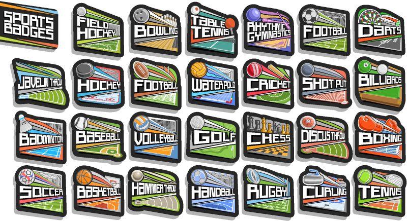 矢量运动徽章集-27种不同类型的运动游戏标志-原始字母-独立的标签集合与飞行运动球-运动场馆-冰场和游泳池