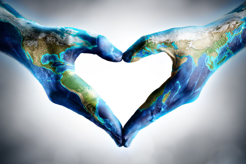 地球日庆典-手形心与世界地图
