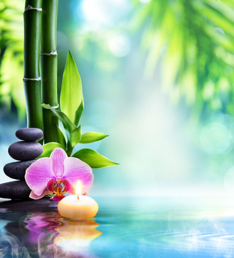 SPA静物——水上天然竹子烛光石